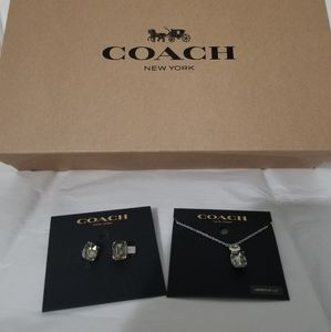 NWT Coach set of earings and necklace